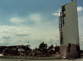 Damage from insided the Drive-In